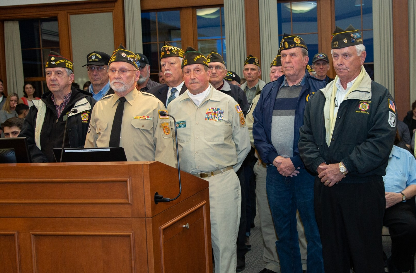 Mt. Prospect Mayor Arlene Jurackek and the village board issued a proclamation thanking VFW Post 1337 and Legion Post 525 for their service to our country. Vets attended a recognition ceremony at Mt Prospect VIllage Hall, March 19th.